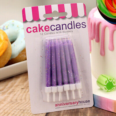Purple Glitter Candles & Holders, Pack of 12