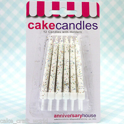White Glitter Candles & Holders, Pack of 12
