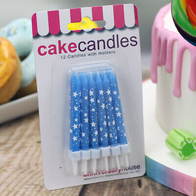 Blue Candles with White Stars & Holders, Pack of 12