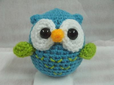 Cute ฺBlue Owl Handmade Crochet Stuffed Animal Toy Height  3""