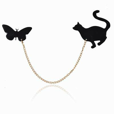 Black Boho Cat Butterfly Resin Chain Charm Pin Brooch Neck Clip Collar Tips Cute