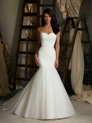 2016 Mermaid White/Ivory Wedding Dress Bridal Gown Stock Size 6 8 10 12 14 16