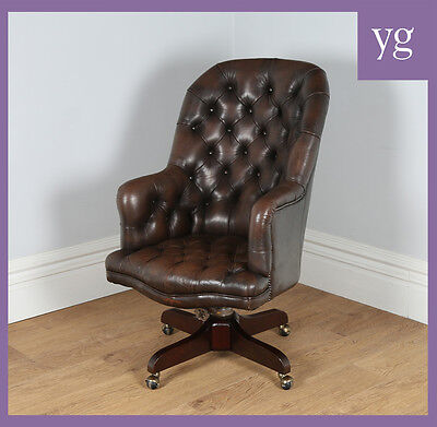 Antique Georgian Mahogany Brown Leather Bucket Office Desk Swivel Armchair Chair • £775.00