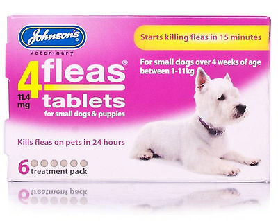 Johnson's 4 Fleas Tablets, Small Dogs Or Puppys, 6 Pack