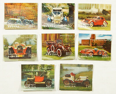 1960's-1970's Bhutan Automobile 3D Lenticular Stamp Set (8) ^ Ford Rolls Royce