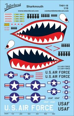 Sharkmouth Decal US Air Force Streetracing 1/18 Naßschiebebild Abziehbild TH0118