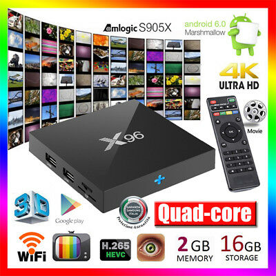 2/16Go X96 Android 6.0 S905X Quad-Core 4K*2K Smart TV Box 2.4G WIFI 3D PC Player