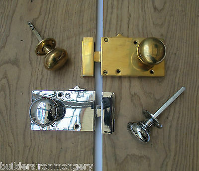 Solid Brass Vintage Old English Victorian Bedroom  Rim Door Knob Latch Lock