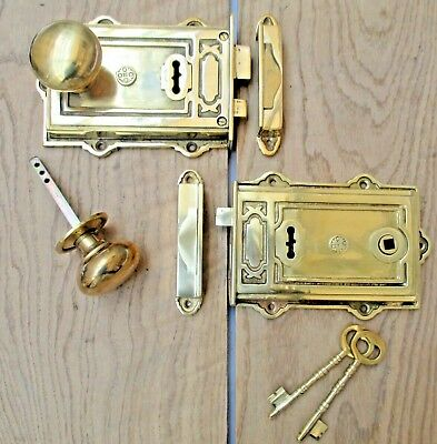 Brass Vintage Old English Victorian Davenport Decorative Rim Door Knob Lock