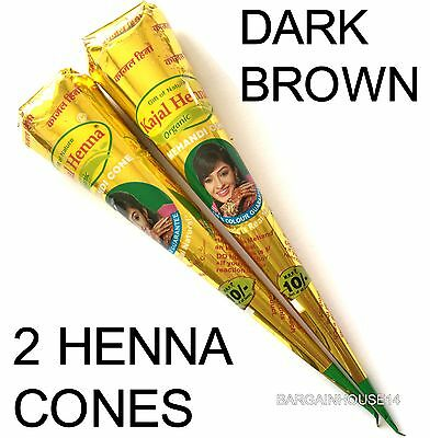 2  Dark Brown Henna Mehnadi Tattoo Paste Cones (16cm) Wedding/Party/Bridal Cones