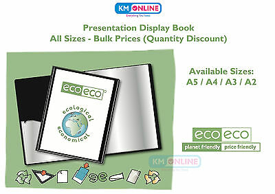 A5/A4/A3/A2 BLACK PRESENTATION DISPLAY BOOK FOLDER 20/40 POCKET ecoeco Recycled