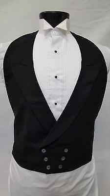 Mens Fit All Black 100% Wool Vintage Victorian Dickens Tuxedo Vest One Size