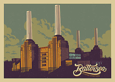 Home Wall Art Print - Vintage Travel Poster -BATTERSEA POWER STATION-A4,A3,A2,A1