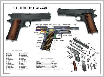 "Poster 18''x24"" U.S.Army Colt 1911 Cal .45 ACP Manual Exploded Parts Diagram WW2"