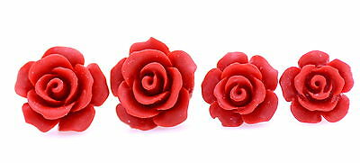 Handcrafted red lacquer stud rose, multiple sizes to choose