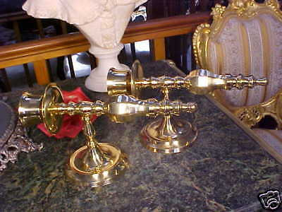 BEAUTIFULLY DETAILED Vintage Pair Brass Swirl Candle Holders Sconces ORNATE! • CAD $138.42