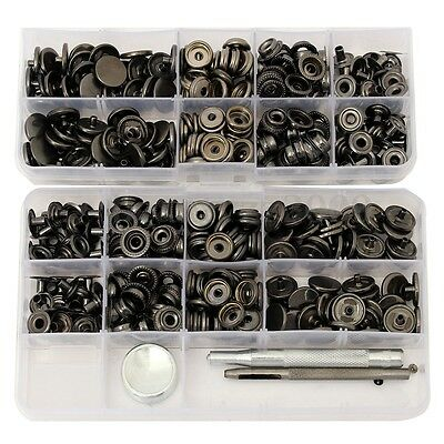 100 Sets 15mm Black Snap Fasteners Popper Press Stud Button Leather Tool Kit