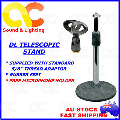 DL Telescopic Desk Table Top Solid Base Short Microphone Stand Free Mic Clip