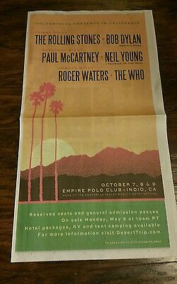 Rare Desert Trip Newspaper FULL PAGE Poster Single Day Print Only!