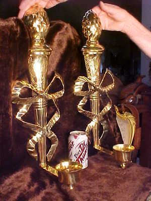 "RARE TREMENDOUS 22""T Vintage Pair BRASS Sconces Candle Holders ORNATE BEAUTIFUL!"