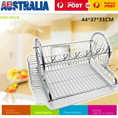 2 Tier Steel Dish Drying Rack Dryer Bowl Drainer Tray Plate Cup Storage Holder