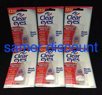 6 PACK CLEAR EYES DROPS REDNESS RELIEF DRY EYES 0.2 OZ .6 ML LOT Packs EXP 2021*