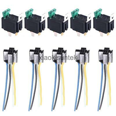 Set of 5 12V 30A Automotive Heavy Duty Relay 4Pin Fuse Fused On/Off Metal