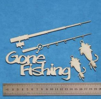 Chipboard Laser Cut Embellishment Fishing Words and Shapes
