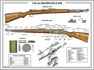 """Poster 12""""x18"""" MAUSER K98 Rifle Manual Exploded Parts Diagram D-Day Battle WW2"""