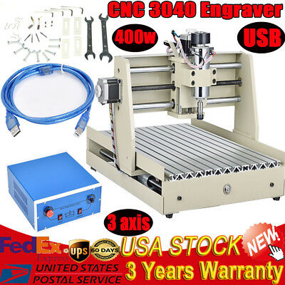 USB 3 Axis CNC 3040T Router Engraver Milling Drilling DRILL Machine 400W Spindle