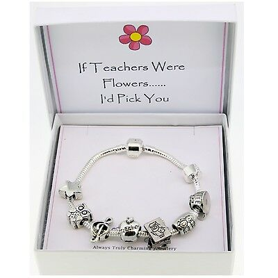Teacher Themed Silver Charm Bracelet Gift Boxed With Message 20cm