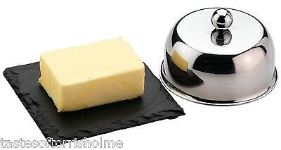 Grunwerg Stainless Steel Butter Dish Cover & Slate Serving Tray Set