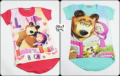 Kids Baby Girls Junior Top Short Sleeved Tshirt Summer Top Cotton Masha and Bear