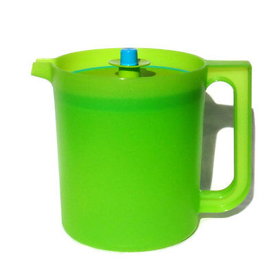 NEW Tupperware Classic Pitcher Jug 1.5 Litre with Push Button Seal Lime /Aqua