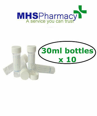30ml Universal containers specimen containers sample bottle labelled QTY OF 10