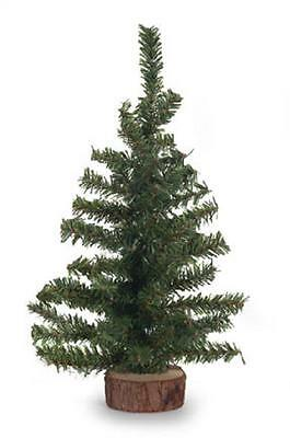 18 inch Green Artificial Canadian Pine Tree with Wood Base Miniature Craft NEW