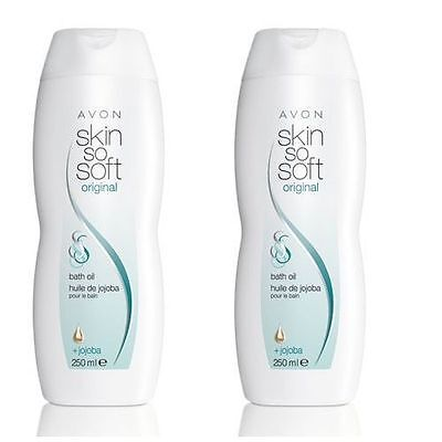 AVON SKIN SO SOFT ORIGINAL BATH OIL WITH JOJOBA OIL 250 ml X 2 TOTAL 500 ml NEW