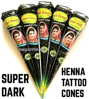 FRESH QUALITY DARK BROWN Henna BRIDAL Mehndi  Cones *ORGANIC HENNA* NO CHEMICALS