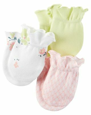 New Carter's 3 Pack Baby Mittens size 0-3 months NWT 100% Cotton Girls Yellow