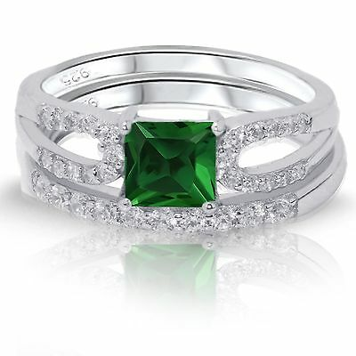 Princess Cut Emerald Green CZ Engagement / Wedding Sterling Silver Two Ring Set