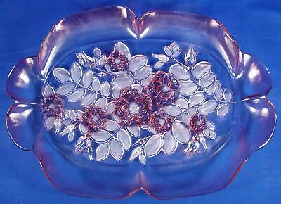 """Mikasa Rosella Large 16"""" Floral Party Server Platter Pink Glass Ruffled Edge"""