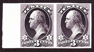 US O27TC3d 3c Justice Department Trial Color Proof Pair in Black Violet SCV $180