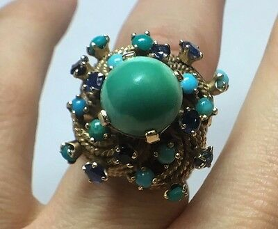 *RARE* UNIQUE ANTIQUE 14K YELLOW GOLD TURQUOISE & SAPPHIRE ROPE CLUSTER RING Sz6