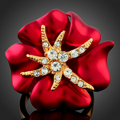 D2 Gorgeous Red Hand Painted Austrain Crystal Tropical Flower Ring