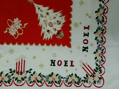 "Vintage Christmas Tablecloth NOEL CANDLES TREES HOLLY Rectangle 63"" x 49"" Cotton"