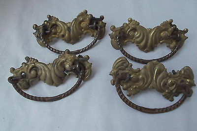 set lot 4 vtg antique press floral brass dresser drawer pulls bails back plates