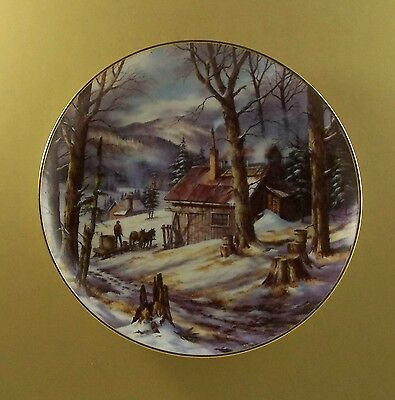 Country Memories NATURE'S SWEET SYRUP Plate Rudi Reichardt Tapping Maple Syrup
