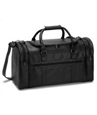 Gemline Large Black Simulated Leather Executive Travel Duffel Bag 22""