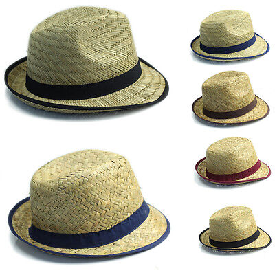 Job Lot of 24PCS Men's Straw Trilby Hats with Bands Mixed Colours Hot Seller