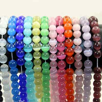 Wholesale Cat Eye Gemstone Round Loose Spacer Bead Charms Jewelry Making 8mm DIY